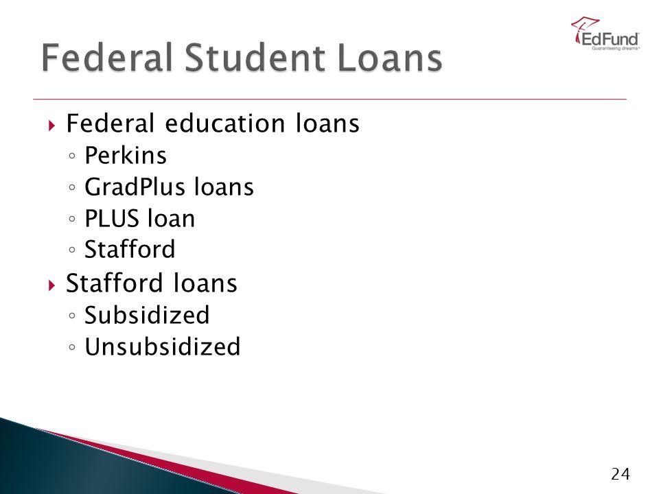 24  Federal education loans ◦ Perkins ◦ GradPlus loans ◦ PLUS loan ◦ Stafford  Stafford loans ◦ Subsidized ◦ Unsubsidized