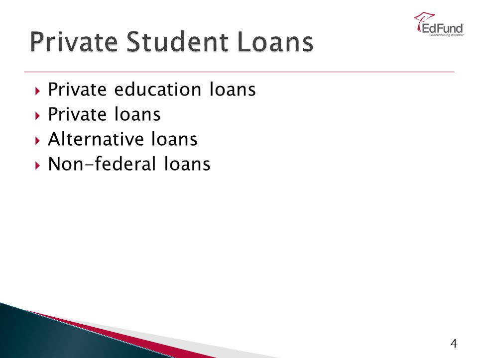 4  Private education loans  Private loans  Alternative loans  Non-federal loans