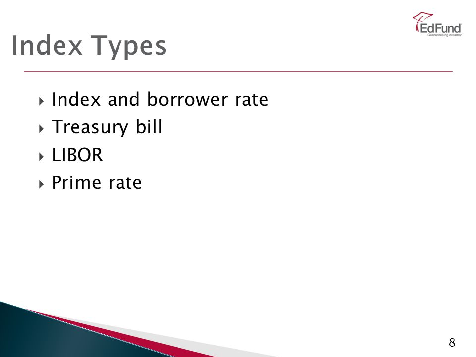 8 Index Types  Index and borrower rate  Treasury bill  LIBOR  Prime rate