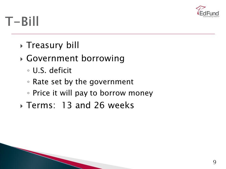 9 T-Bill  Treasury bill  Government borrowing ◦ U.S.