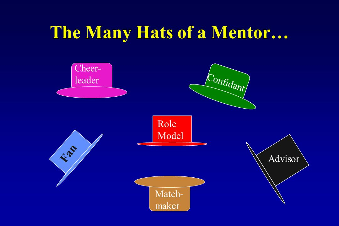 The Many Hats of a Mentor… Fan Advisor Role Model Confidant Match- maker Cheer- leader