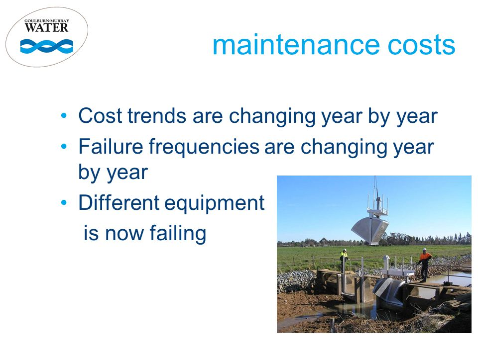 maintenance costs Cost trends are changing year by year Failure frequencies are changing year by year Different equipment is now failing
