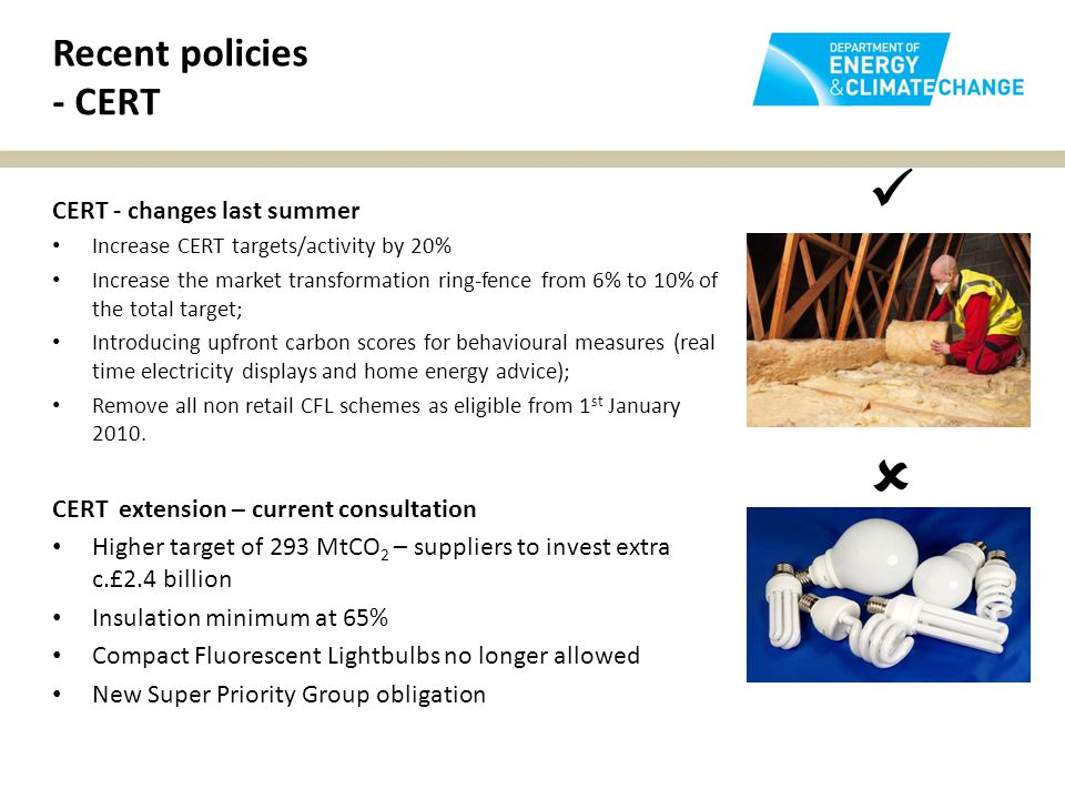 Recent policies - CERT CERT - changes last summer Increase CERT targets/activity by 20% Increase the market transformation ring-fence from 6% to 10% of the total target; Introducing upfront carbon scores for behavioural measures (real time electricity displays and home energy advice); Remove all non retail CFL schemes as eligible from 1 st January 2010.