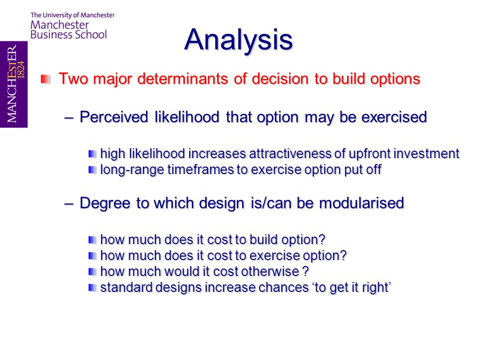 Analysis Two major determinants of decision to build options –Perceived likelihood that option may be exercised high likelihood increases attractiveness of upfront investment long-range timeframes to exercise option put off –Degree to which design is/can be modularised how much does it cost to build option.