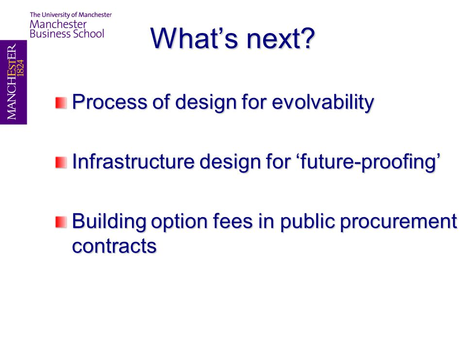 What's next? Process of design for evolvability Infrastructure design for 'future-proofing' Building option fees in public procurement contracts