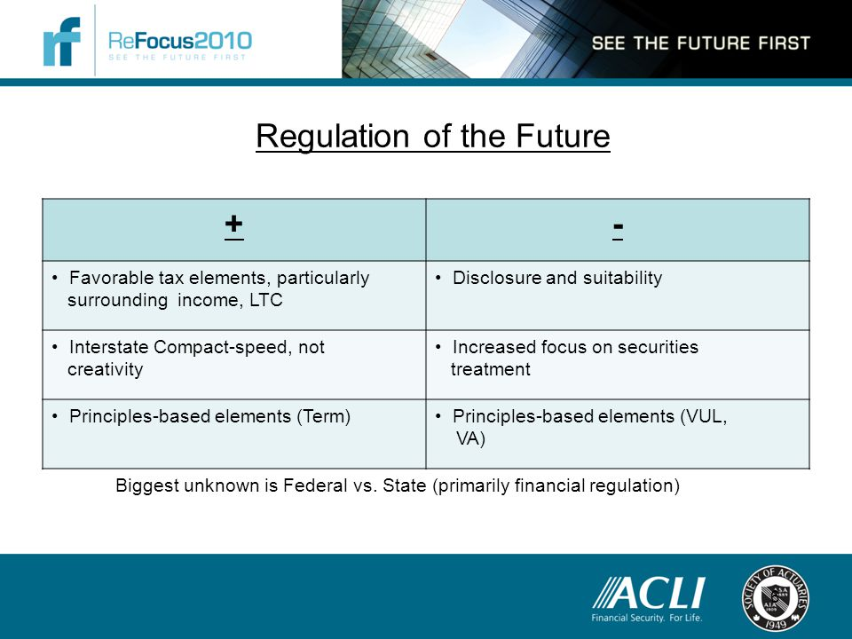 Regulation of the Future +- Favorable tax elements, particularly surrounding income, LTC Disclosure and suitability Interstate Compact-speed, not creativity Increased focus on securities treatment Principles-based elements (Term) Principles-based elements (VUL, VA) 6 Biggest unknown is Federal vs.