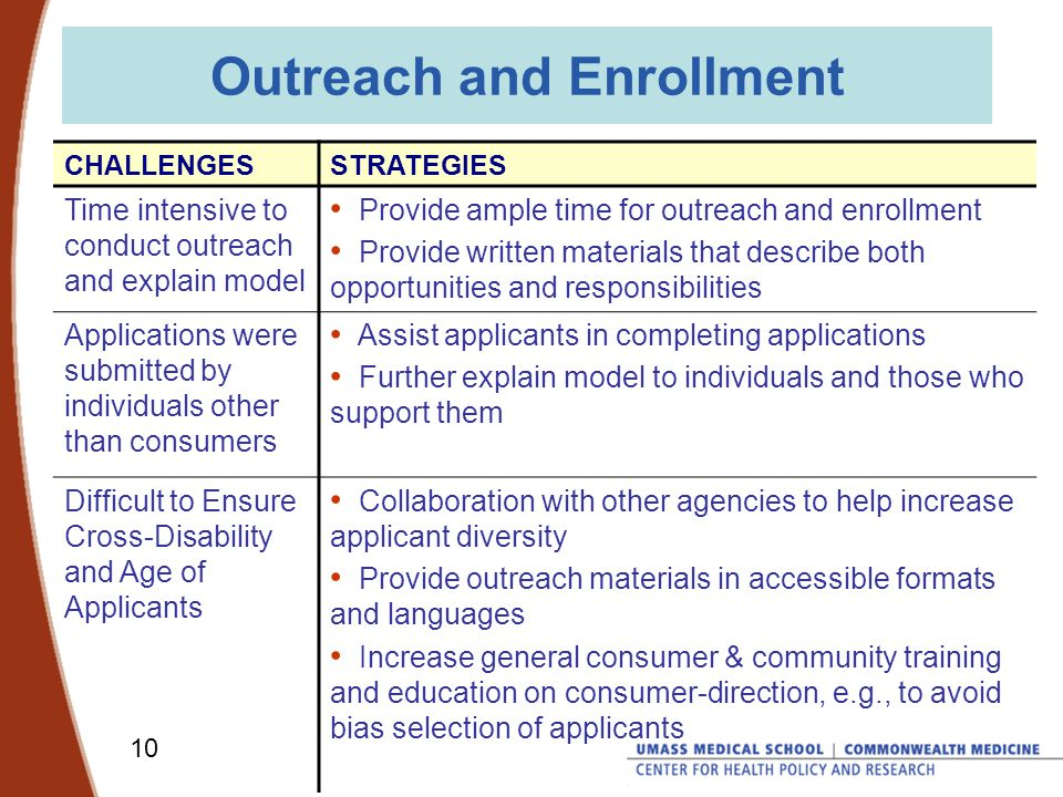 10 Outreach and Enrollment CHALLENGESSTRATEGIES Time intensive to conduct outreach and explain model Provide ample time for outreach and enrollment Provide written materials that describe both opportunities and responsibilities Applications were submitted by individuals other than consumers Assist applicants in completing applications Further explain model to individuals and those who support them Difficult to Ensure Cross-Disability and Age of Applicants Collaboration with other agencies to help increase applicant diversity Provide outreach materials in accessible formats and languages Increase general consumer & community training and education on consumer-direction, e.g., to avoid bias selection of applicants