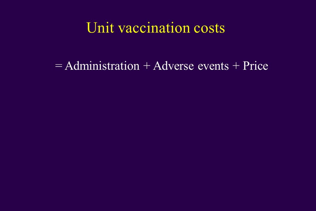 Unit vaccination costs = Administration + Adverse events + Price