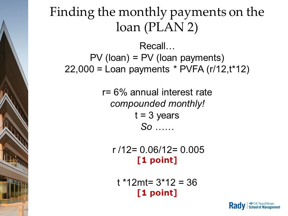 The monthly payments on the loan (PLAN 2) 22,000 = Loan payments * PVFA Let's do the PVFA first PVFA(r/12, t*12) = [ (1- (1+r/12)^(-t*12) ] / r = (1- 0.835645) / (.005) = 0.164355 / 0.005 = 32.87102