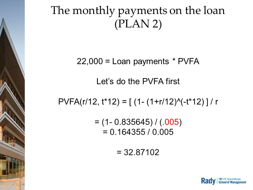 The monthly payments on the loan (PLAN 2) 22,000 = Loan payments * PVFA Let's do the PVFA first PVFA(r/12, t*12) = [ (1- (1+r/12)^(-t*12) ] / r = (1-