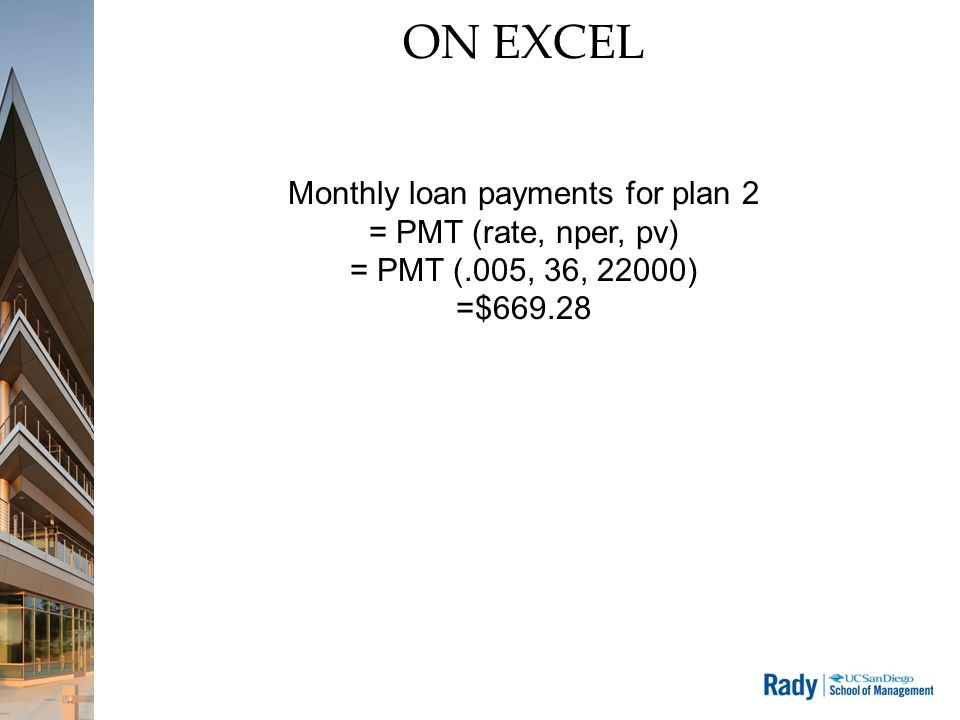 ON EXCEL Monthly loan payments for plan 2 = PMT (rate, nper, pv) = PMT (.005, 36, 22000) =$669.28