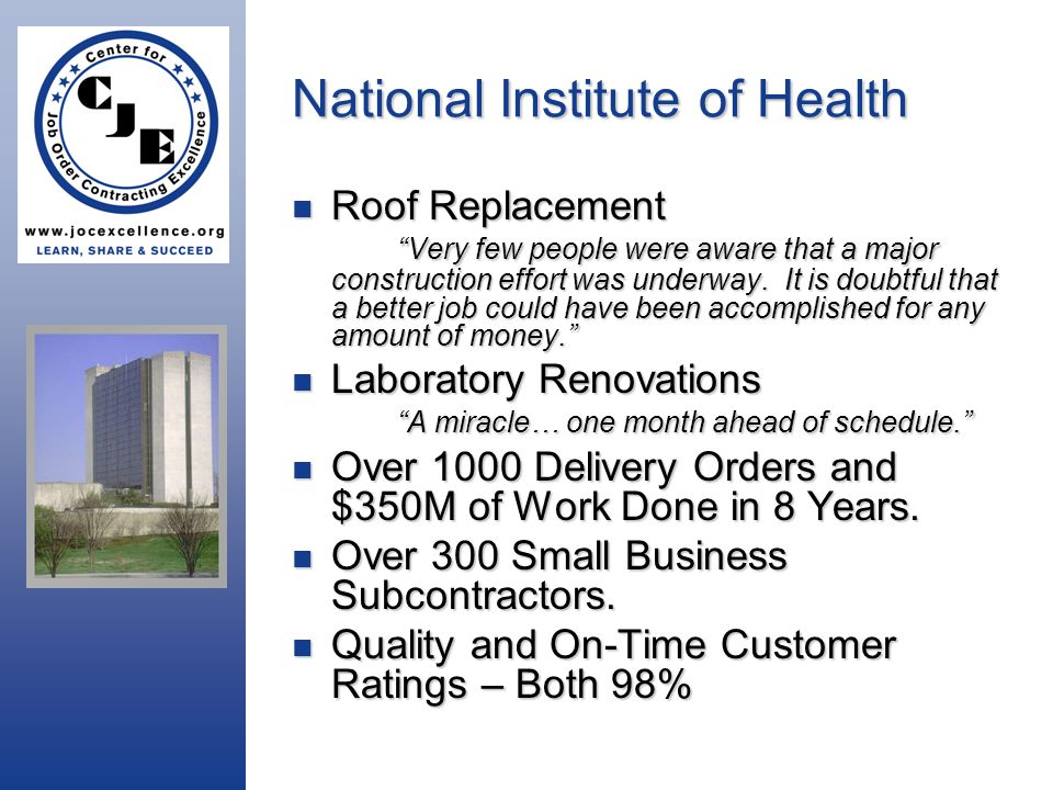 National Institute of Health Roof Replacement Very few people were aware that a major construction effort was underway.