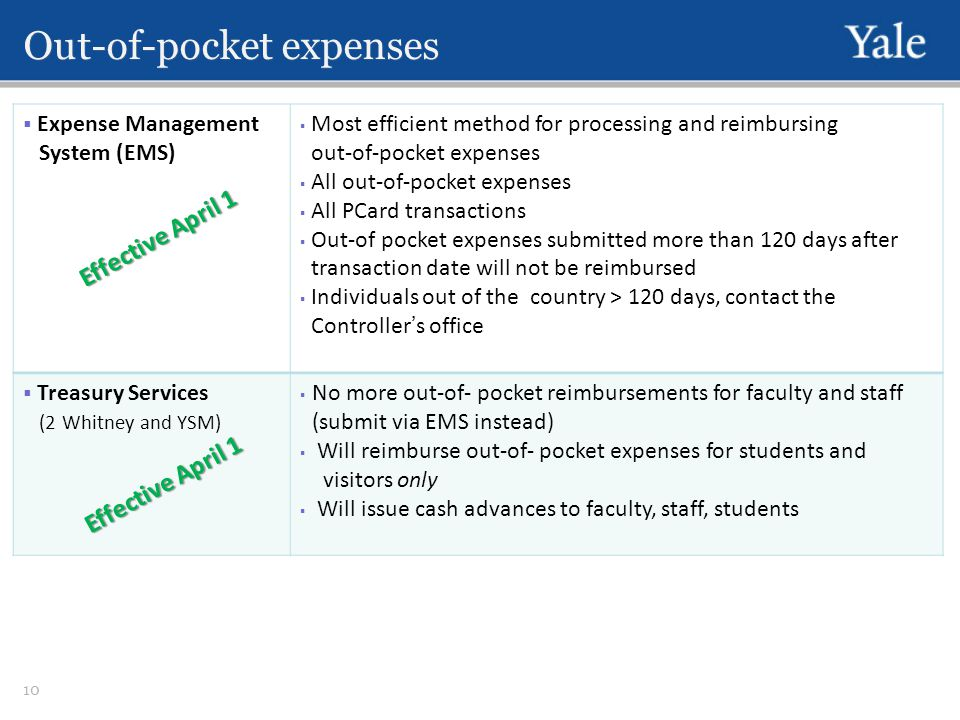 Out-of-pocket expenses  Expense Management System (EMS)  Most efficient method for processing and reimbursing out-of-pocket expenses  All out-of-pocket expenses  All PCard transactions  Out-of pocket expenses submitted more than 120 days after transaction date will not be reimbursed  Individuals out of the country > 120 days, contact the Controller's office  Treasury Services (2 Whitney and YSM)  No more out-of- pocket reimbursements for faculty and staff (submit via EMS instead)  Will reimburse out-of- pocket expenses for students and visitors only  Will issue cash advances to faculty, staff, students 10 Effective April 1