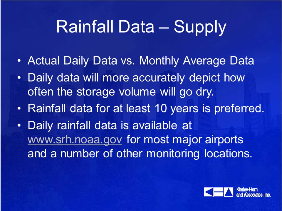 Rainfall Data – Supply Actual Daily Data vs.
