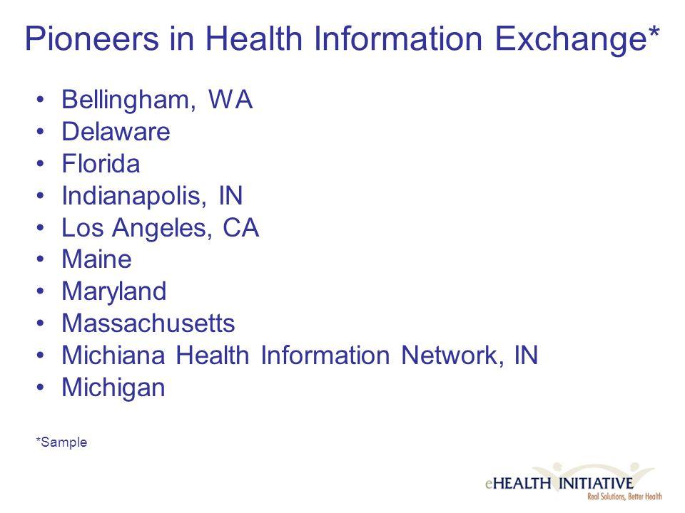 Pioneers in Health Information Exchange* Bellingham, WA Delaware Florida Indianapolis, IN Los Angeles, CA Maine Maryland Massachusetts Michiana Health Information Network, IN Michigan *Sample