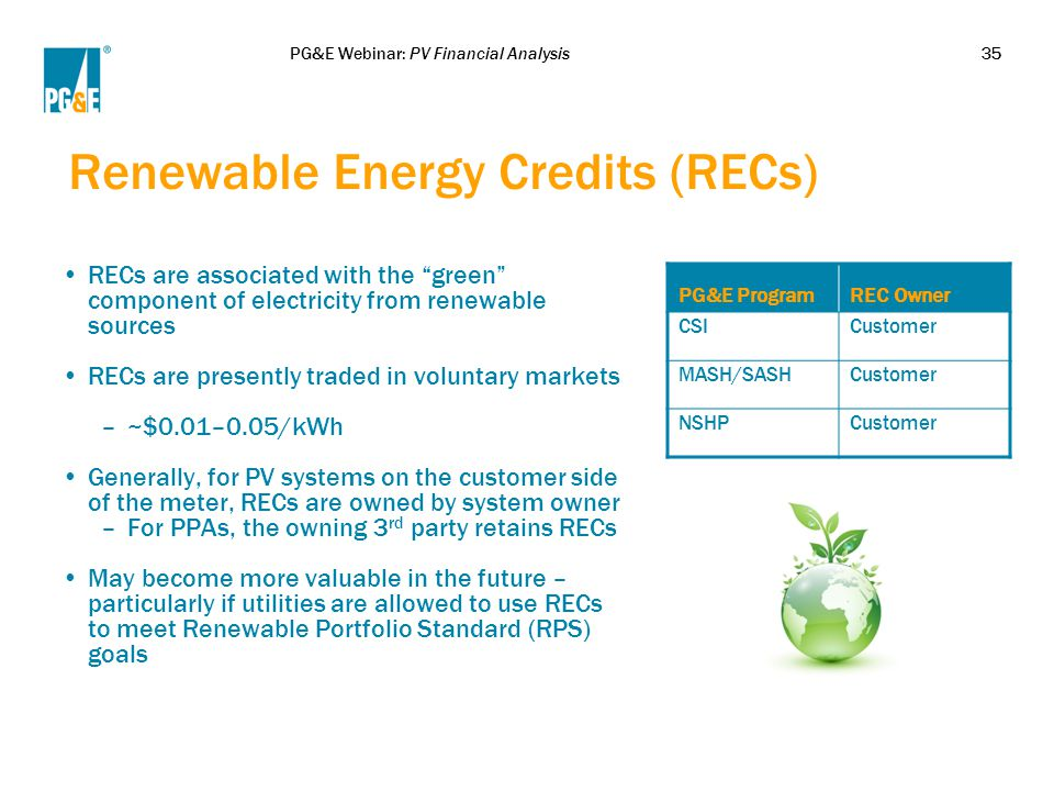 """PG&E Webinar: PV Financial Analysis35 Renewable Energy Credits (RECs) RECs are associated with the """"green"""" component of electricity from renewable sou"""