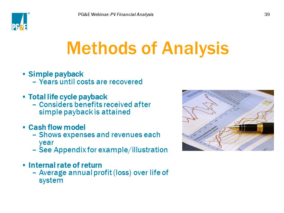 PG&E Webinar: PV Financial Analysis39 Methods of Analysis Simple payback –Years until costs are recovered Total life cycle payback –Considers benefits received after simple payback is attained Cash flow model –Shows expenses and revenues each year –See Appendix for example/illustration Internal rate of return –Average annual profit (loss) over life of system