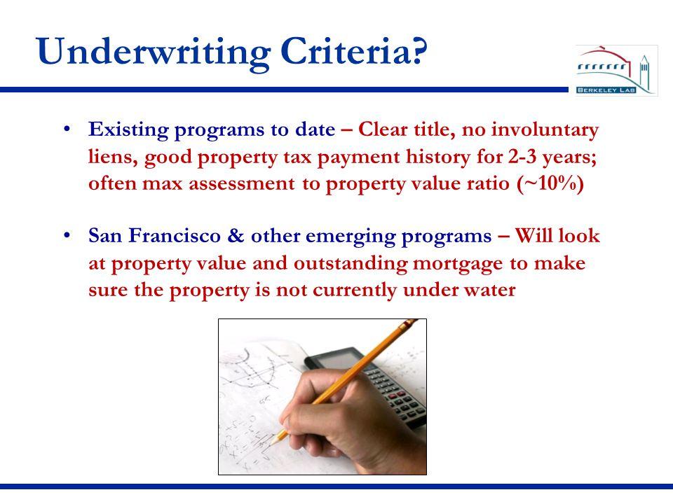 Underwriting Criteria.
