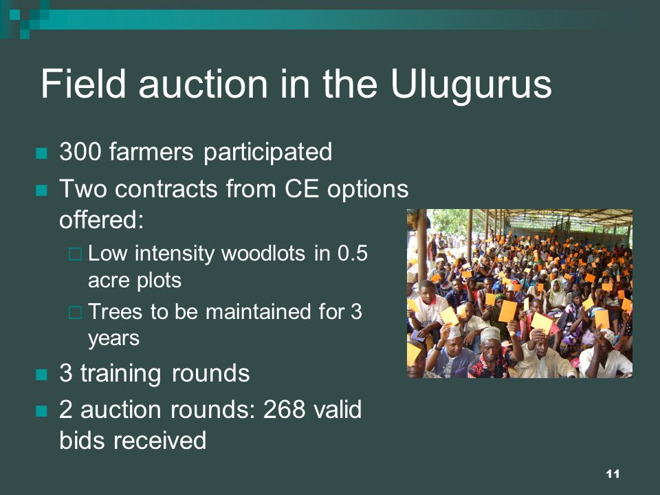 11 Field auction in the Ulugurus 300 farmers participated Two contracts from CE options offered:  Low intensity woodlots in 0.5 acre plots  Trees to