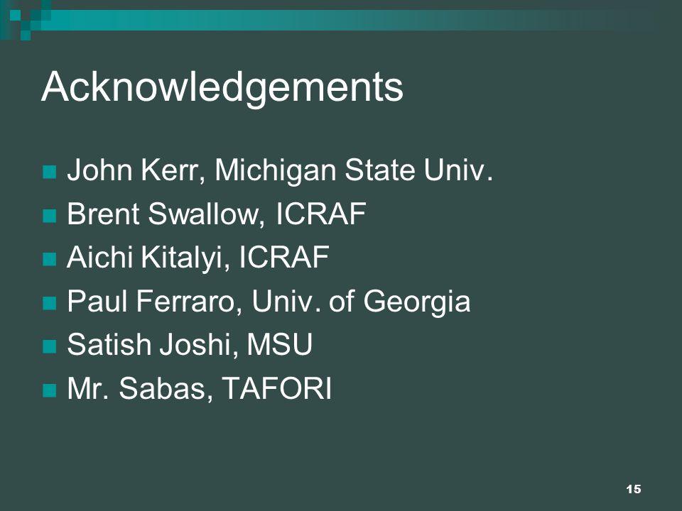15 Acknowledgements John Kerr, Michigan State Univ.
