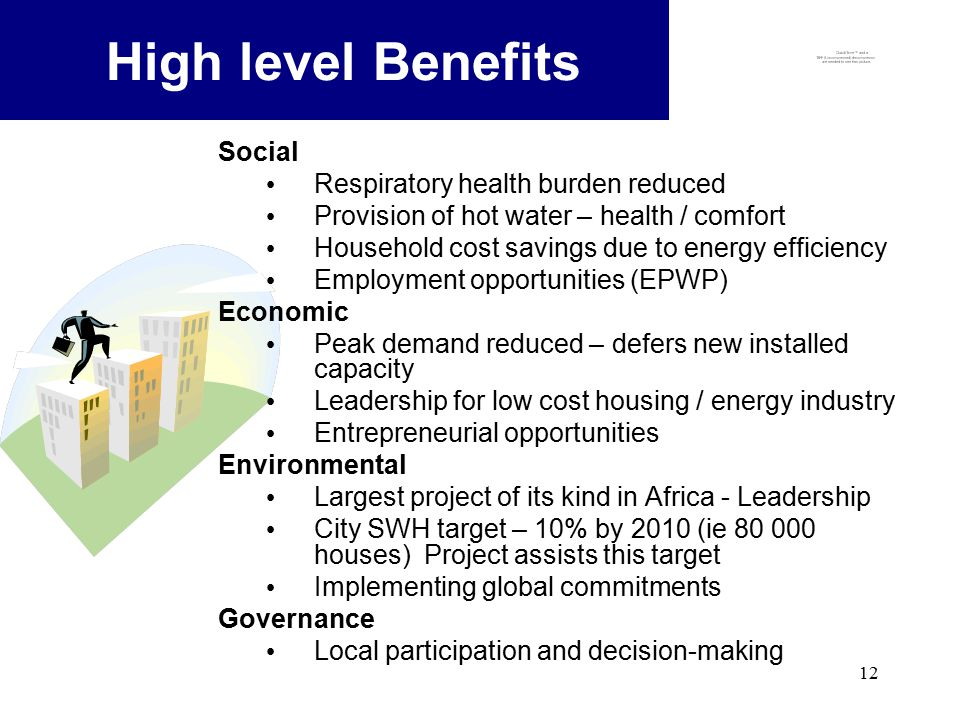 12 High level Benefits Social Respiratory health burden reduced Provision of hot water – health / comfort Household cost savings due to energy efficiency Employment opportunities (EPWP) Economic Peak demand reduced – defers new installed capacity Leadership for low cost housing / energy industry Entrepreneurial opportunities Environmental Largest project of its kind in Africa - Leadership City SWH target – 10% by 2010 (ie 80 000 houses) Project assists this target Implementing global commitments Governance Local participation and decision-making
