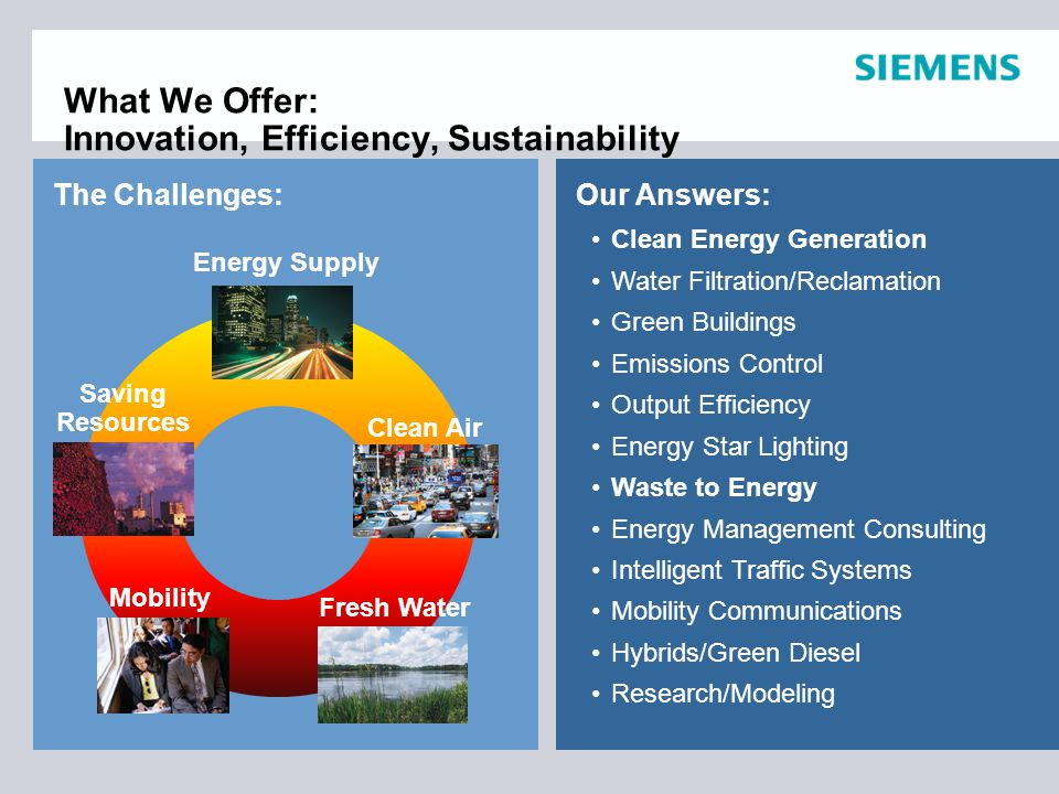 The Challenges: Clean Energy Generation Water Filtration/Reclamation Green Buildings Emissions Control Output Efficiency Energy Star Lighting Waste to Energy Energy Management Consulting Intelligent Traffic Systems Mobility Communications Hybrids/Green Diesel Research/Modeling Our Answers: What We Offer: Innovation, Efficiency, Sustainability Fresh Water Clean Air Energy Supply Saving Resources Mobility