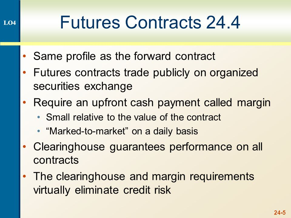 24-5 Futures Contracts 24.4 Same profile as the forward contract Futures contracts trade publicly on organized securities exchange Require an upfront cash payment called margin Small relative to the value of the contract Marked-to-market on a daily basis Clearinghouse guarantees performance on all contracts The clearinghouse and margin requirements virtually eliminate credit risk LO4