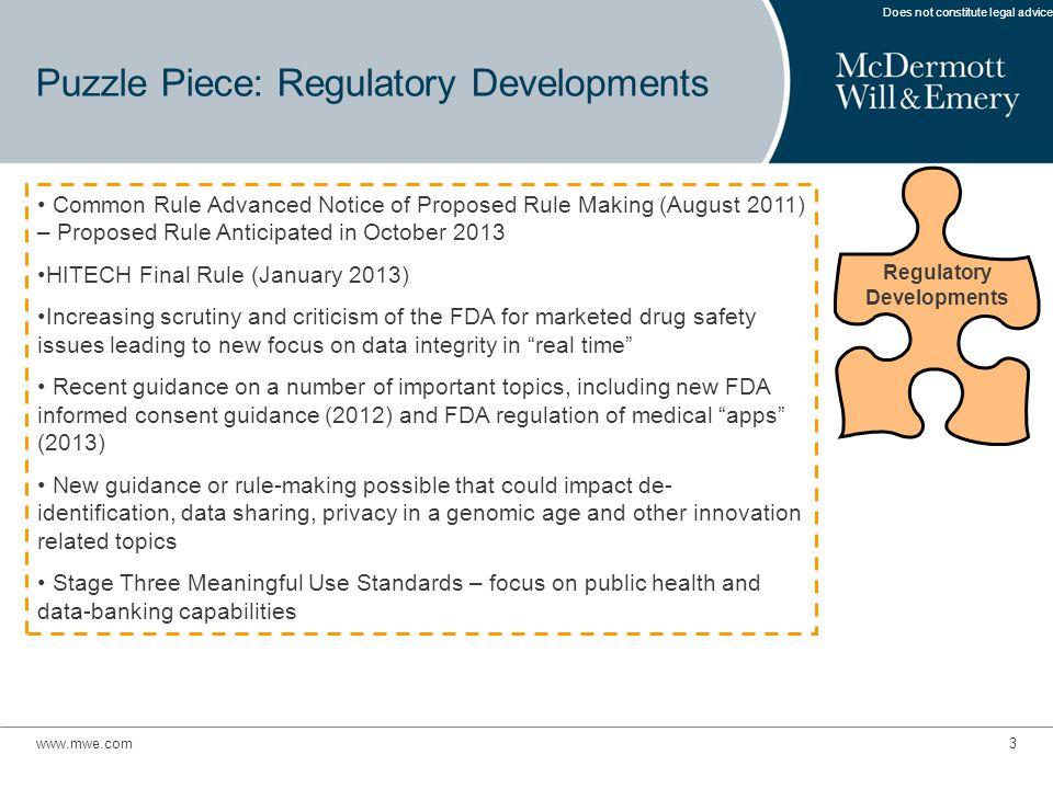 www.mwe.com3 Puzzle Piece: Regulatory Developments Does not constitute legal advice.