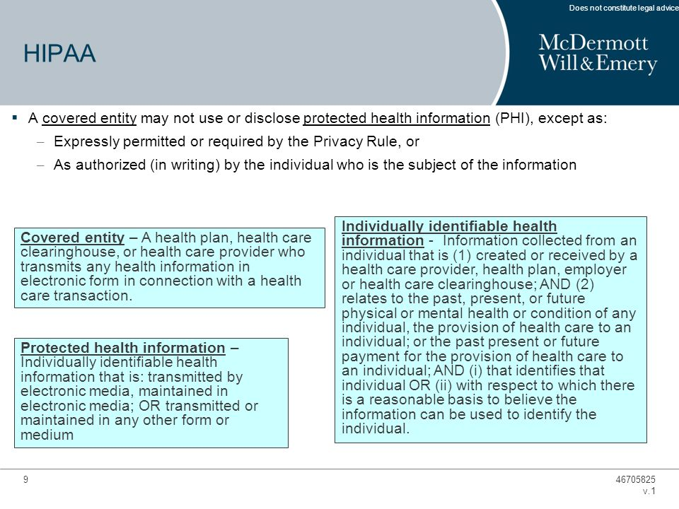 9  A covered entity may not use or disclose protected health information (PHI), except as: – Expressly permitted or required by the Privacy Rule, or – As authorized (in writing) by the individual who is the subject of the information Covered entity – A health plan, health care clearinghouse, or health care provider who transmits any health information in electronic form in connection with a health care transaction.