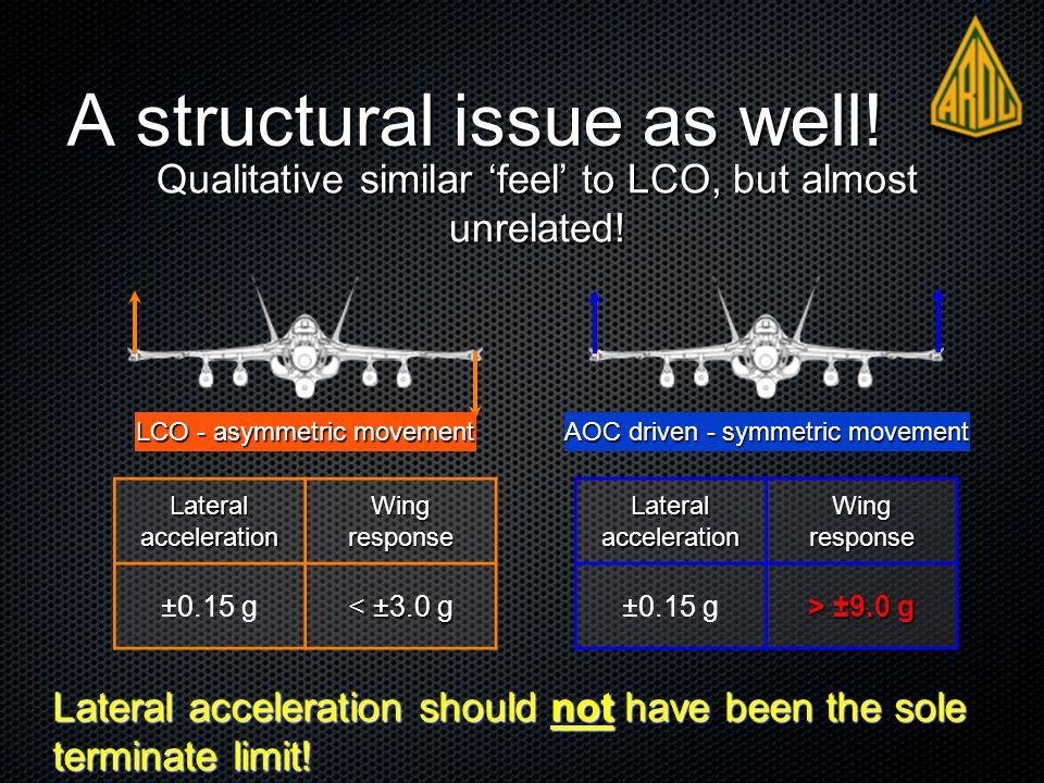 A structural issue as well. Lateral acceleration should not have been the sole terminate limit.