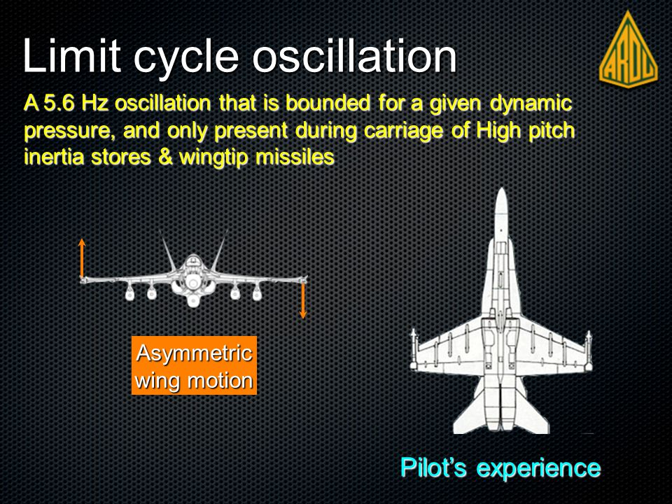 Limit cycle oscillation Asymmetric wing motion Pilot's experience A 5.6 Hz oscillation that is bounded for a given dynamic pressure, and only present