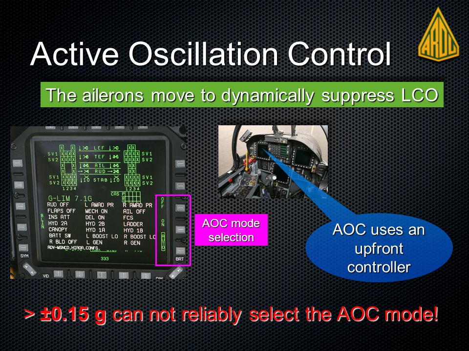 Active Oscillation Control The ailerons move to dynamically suppress LCO AOC mode selection > ±0.15 g can not reliably select the AOC mode.