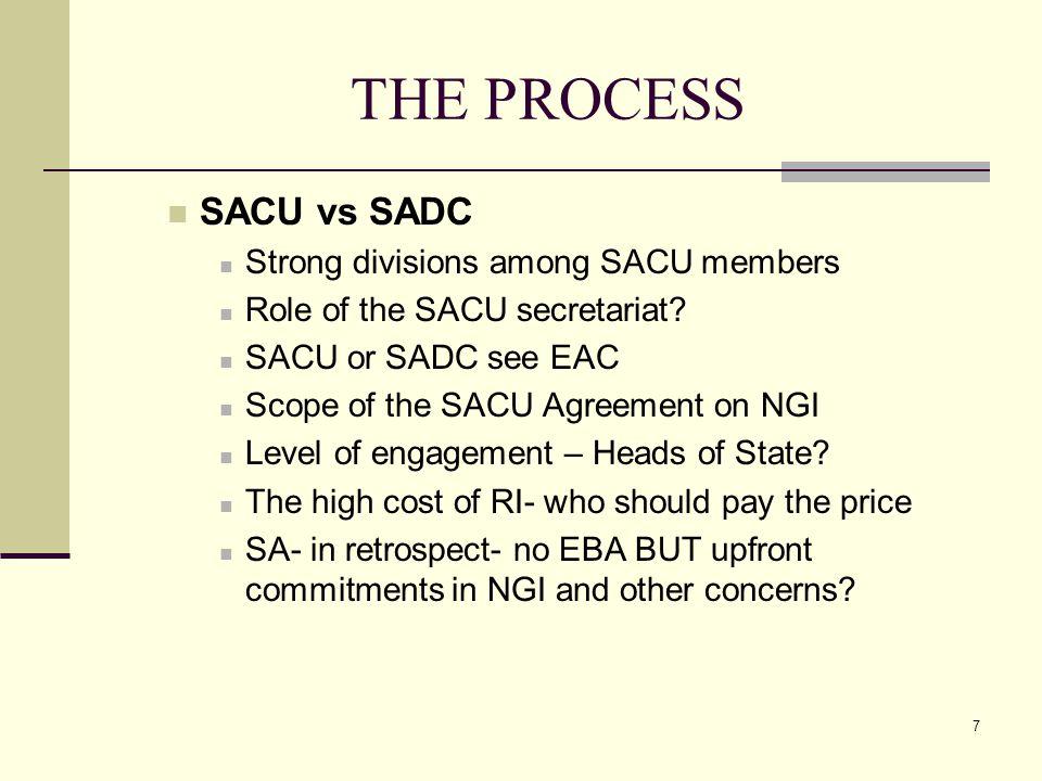 7 THE PROCESS SACU vs SADC Strong divisions among SACU members Role of the SACU secretariat? SACU or SADC see EAC Scope of the SACU Agreement on NGI L
