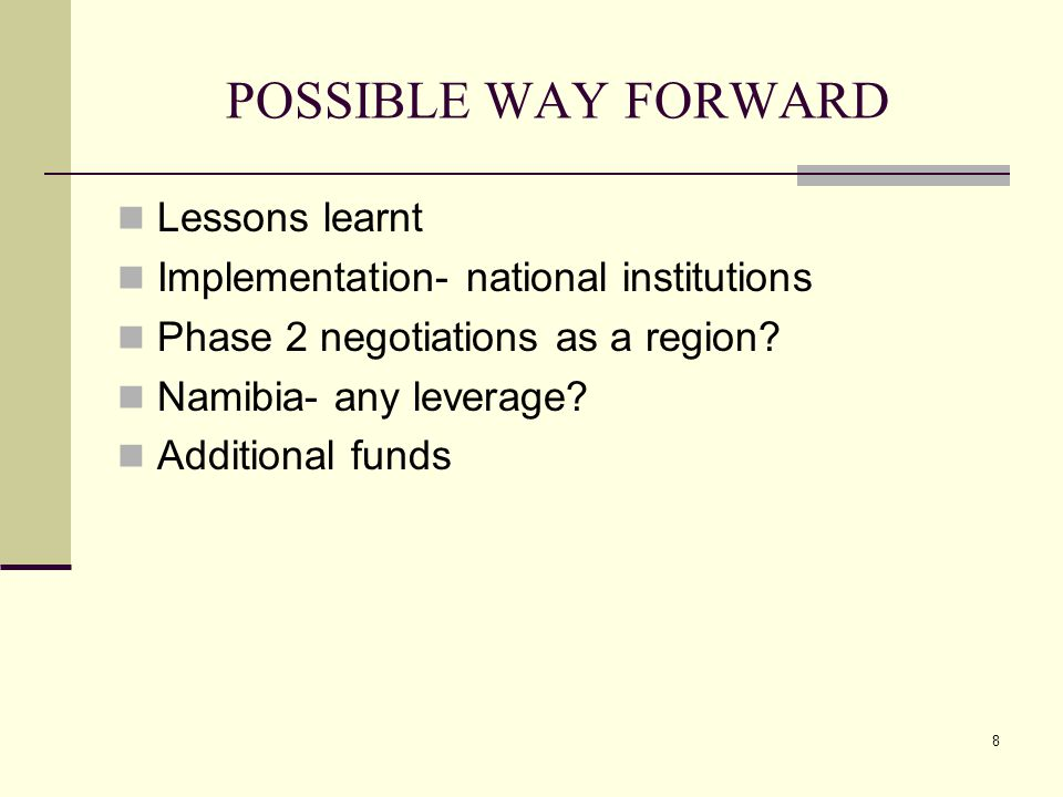 8 POSSIBLE WAY FORWARD Lessons learnt Implementation- national institutions Phase 2 negotiations as a region.