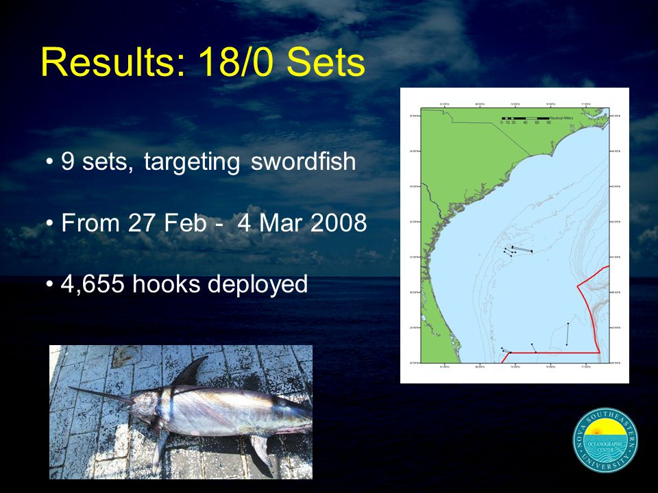 Results: 18/0 Sets 9 sets, targeting swordfish From 27 Feb - 4 Mar 2008 4,655 hooks deployed
