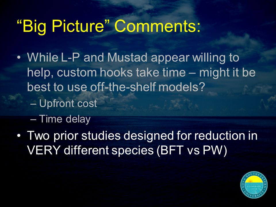 Big Picture Comments: While L-P and Mustad appear willing to help, custom hooks take time – might it be best to use off-the-shelf models.