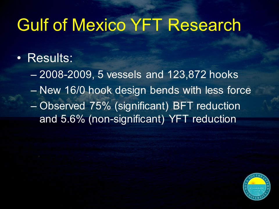 Gulf of Mexico YFT Research Results: –2008-2009, 5 vessels and 123,872 hooks –New 16/0 hook design bends with less force –Observed 75% (significant) BFT reduction and 5.6% (non-significant) YFT reduction
