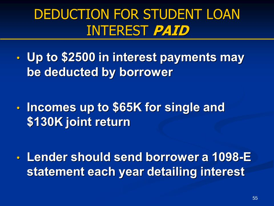 55 DEDUCTION FOR STUDENT LOAN INTEREST PAID Up to $2500 in interest payments may be deducted by borrower Up to $2500 in interest payments may be deduc