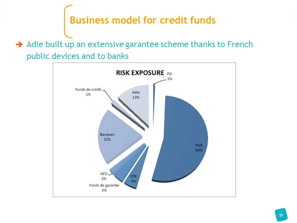  Adie built up an extensive garantee scheme thanks to French public devices and to banks 20 Business model for credit funds