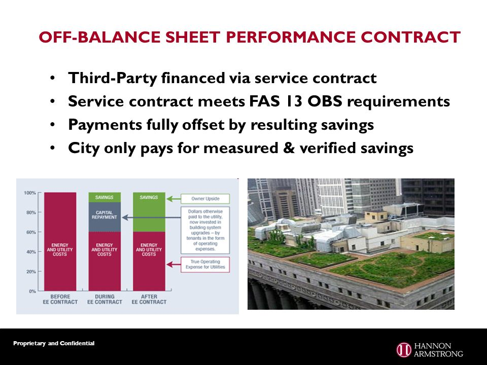Proprietary and Confidential OFF-BALANCE SHEET PERFORMANCE CONTRACT Third-Party financed via service contract Service contract meets FAS 13 OBS requirements Payments fully offset by resulting savings City only pays for measured & verified savings