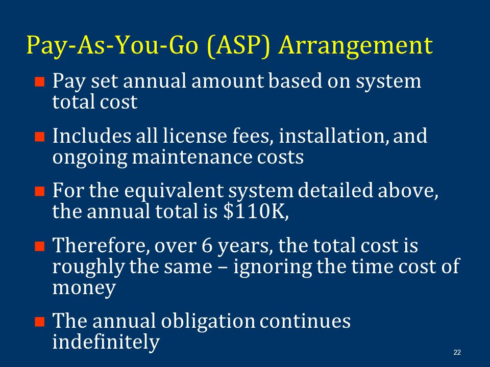 22 Pay set annual amount based on system total cost Includes all license fees, installation, and ongoing maintenance costs For the equivalent system d