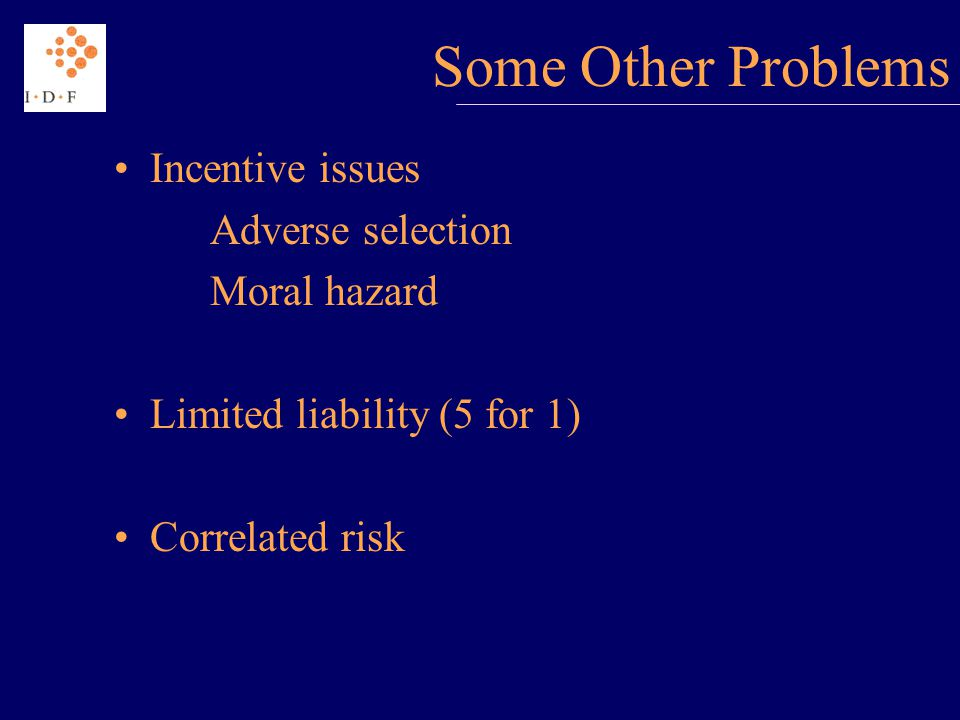 Some Other Problems Incentive issues Adverse selection Moral hazard Limited liability (5 for 1) Correlated risk