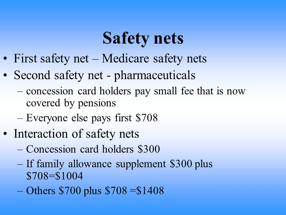 Safety nets First safety net – Medicare safety nets Second safety net - pharmaceuticals –concession card holders pay small fee that is now covered by pensions –Everyone else pays first $708 Interaction of safety nets –Concession card holders $300 –If family allowance supplement $300 plus $708=$1004 –Others $700 plus $708 =$1408