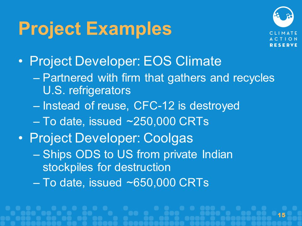 15 Project Examples Project Developer: EOS Climate –Partnered with firm that gathers and recycles U.S. refrigerators –Instead of reuse, CFC-12 is dest