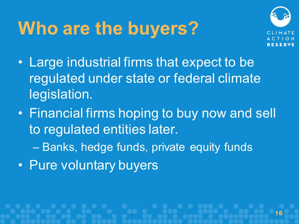 16 Who are the buyers? Large industrial firms that expect to be regulated under state or federal climate legislation. Financial firms hoping to buy no