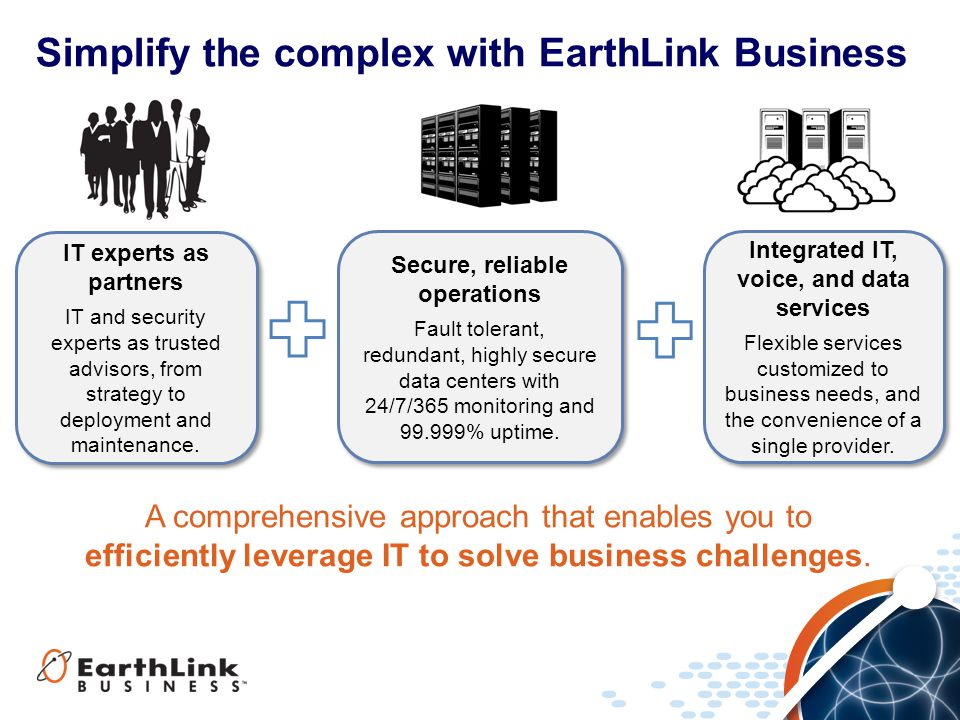Simplify the complex with EarthLink Business A comprehensive approach that enables you to efficiently leverage IT to solve business challenges.