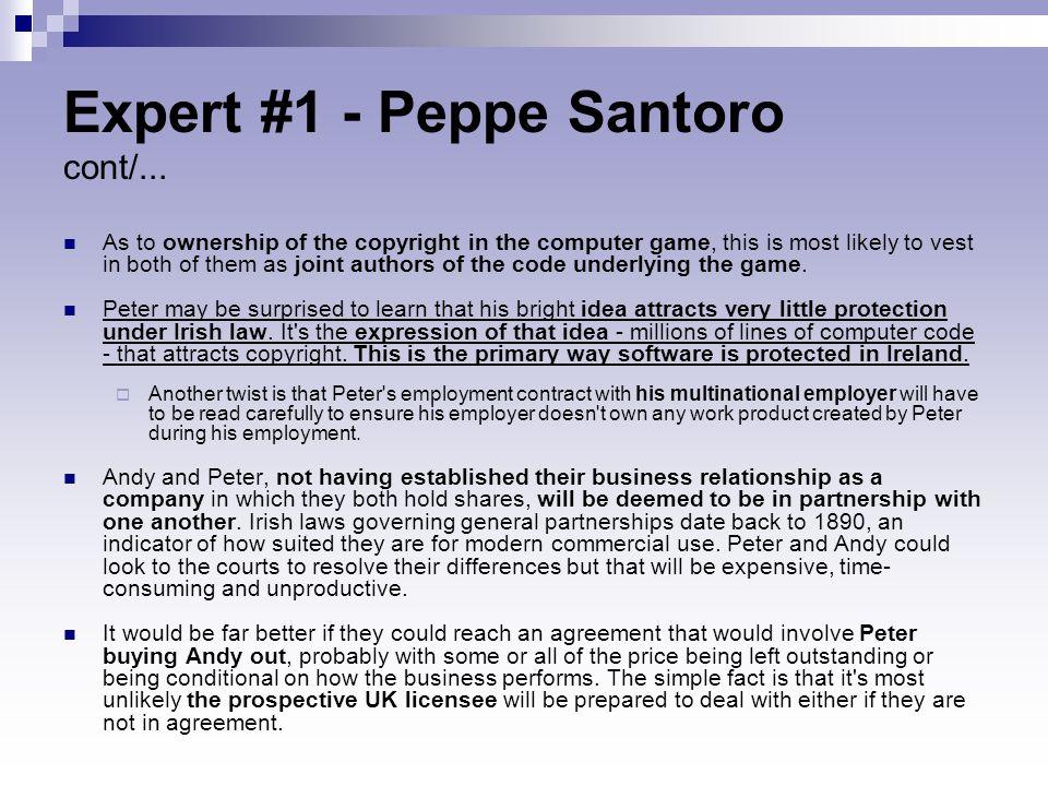 Expert #1 - Peppe Santoro cont/...