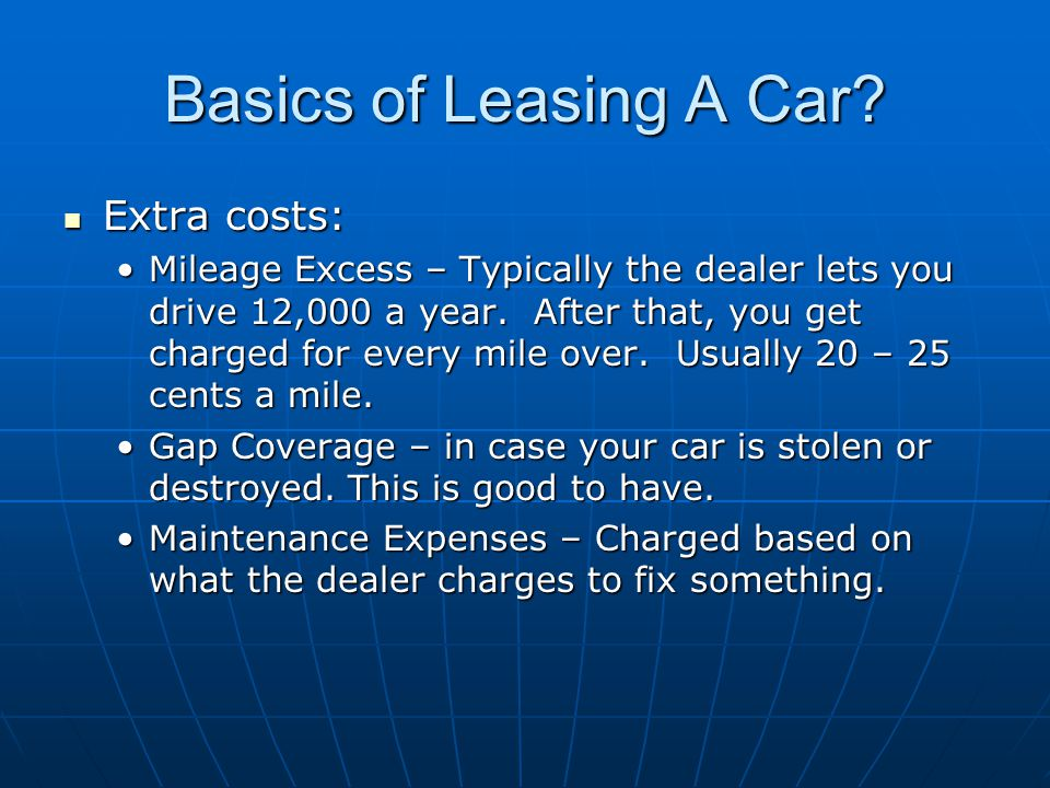 Basics of Leasing A Car.