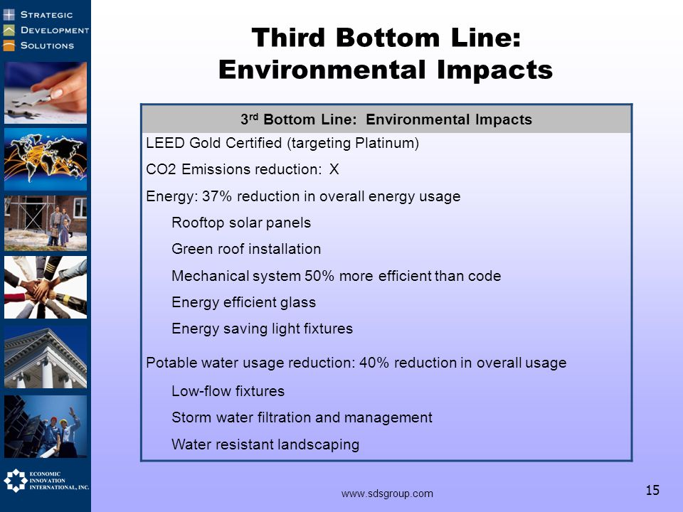 15 Third Bottom Line: Environmental Impacts 3 rd Bottom Line: Environmental Impacts LEED Gold Certified (targeting Platinum) CO2 Emissions reduction: X Energy: 37% reduction in overall energy usage Rooftop solar panels Green roof installation Mechanical system 50% more efficient than code Energy efficient glass Energy saving light fixtures Potable water usage reduction: 40% reduction in overall usage Low-flow fixtures Storm water filtration and management Water resistant landscaping www.sdsgroup.com