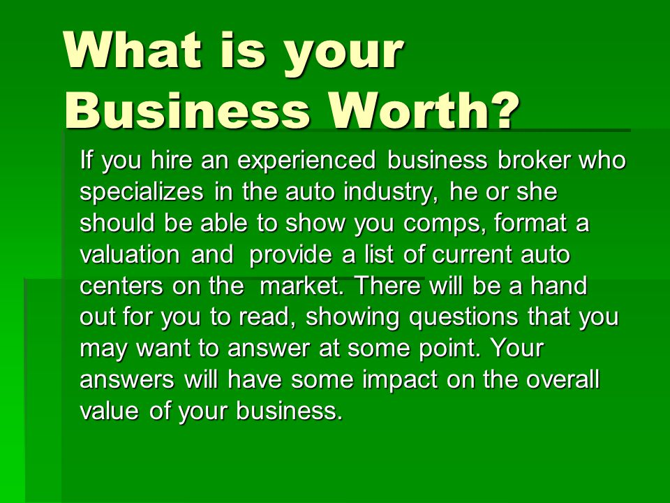 What is your Business Worth.